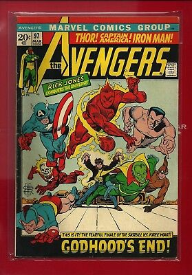 The AVENGERS 97 BRONZE Age SKRULLS RARE EARLY JEWELERS VARIANT NICE VG+