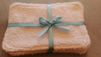 Hand Made white toweling Eco Friendly  Reusable  Washable  baby Wipes x5