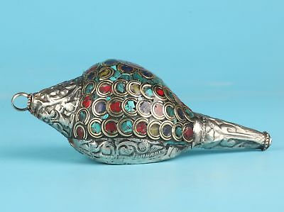 Silver-Plated Inlaid Turquoise Conch Pendant Decorative Old Collec