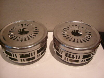 2 x Stainless Steel Circular Tea Light Food & Plate Warmers.
