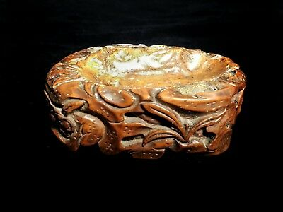 Chinese carved burl wood shallow brush washer Scholar's object lovely patination