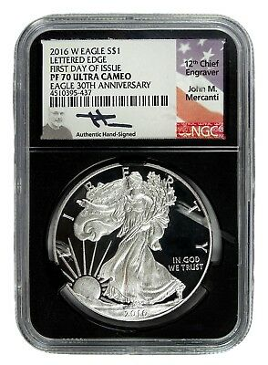 AUC0745 Mercanti Signed 2016 W Proof Silver Eagle 30th Anni NGC PF70 Ultra Cameo