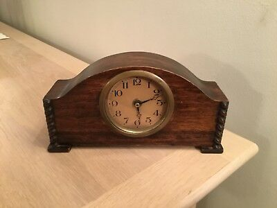 A Vintage Wood Mantel Clock For Spares Or Repair. Fair Condition