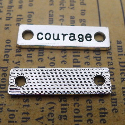 15pcs Charms Connector Courage Words Tibetan Silver Beads Pendant DIY 7*25mm