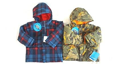 NWT COLUMBIA Toddler Boys/' Blue Plaid//Camo Lightning Lift Hooded Jacket 2T 4T