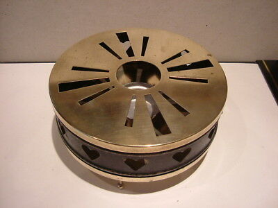 Circular Brass Tea Light Plate / Food Warmer.