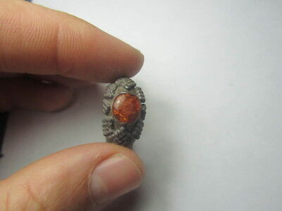 Ancient ring.  Ring with amber  Metal detector finds  100% original
