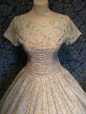 Vintage 1950s floral Print Day Dress Cotton Original rock and roll full skirt