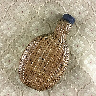 Antique Bottle Flask Wicker Picnic Hamper Travel English 19th Century
