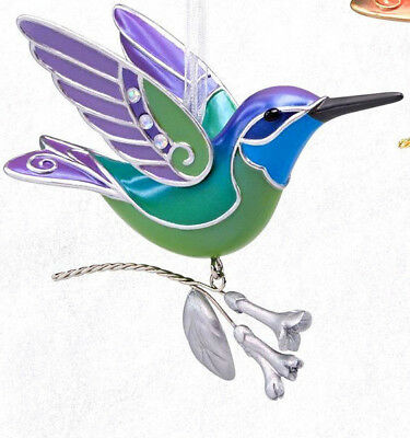 HALLMARK Keepsake 2018 HUMMINGBIRD SURPRISE Green and Purple ORNAMENT Repaint
