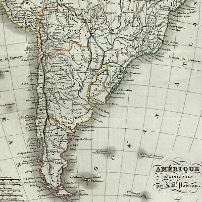 South America continent c.1810-20 Poirson Thierry engraved old map
