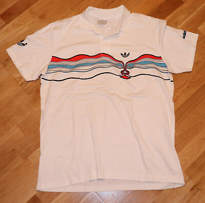 1980's Tennis Striped Polo Shirt Adidas Vtg White Lendl Ivan Face rWwcrqgY1