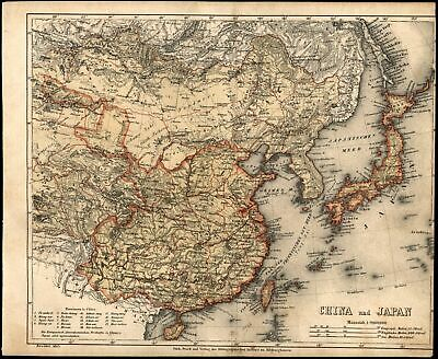 Asia China Japan Korea c.1867 detailed German map