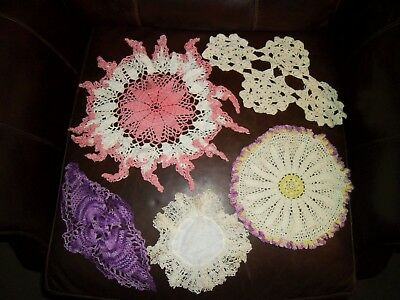 Vtg Lot of (5) Crocheted Doilies