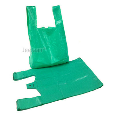 "100 x GREEN PLASTIC VEST CARRIER BAGS 11""x17""x21"" 23MU STRONG QUALITY"