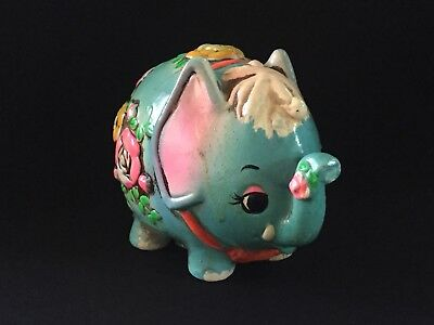 Vintage Chalkware Elephant Coin Bank 1968 Retro Psychedelic Turquoise Flowers