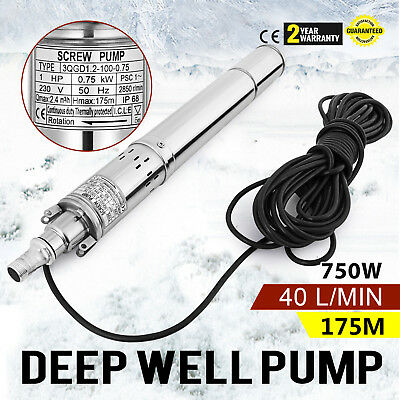 750w  Borehole Deep Well Submersible Water Pump 40 L/MIN 2850RPM 1 HP UPDATED
