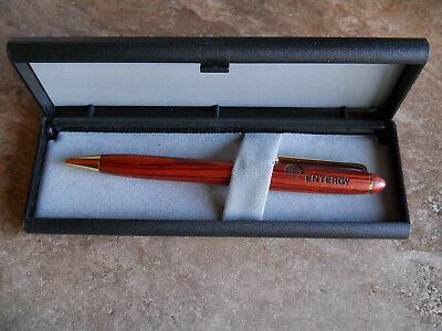 "Vintage Collectible ""ENTERGY"" Woodgrain Reward Promotional Ballpoint Pen -Ad Pen"