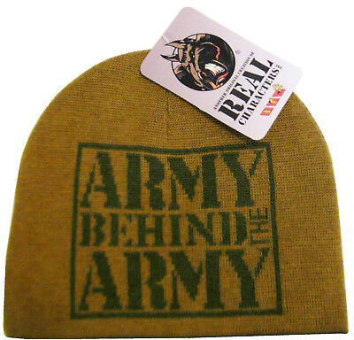 New Real Characters Mens/Boys Army Green Beanie Knit Winter Hat