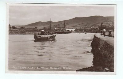 "Postcard. The "" Lady Ailsa "" Entering Harbour, Girvan. Real Photo"