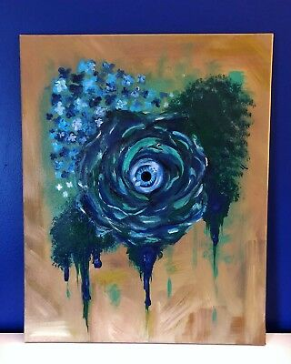 Original painting on canvas Surreal Art Floral Roses Abstract Painting Signed