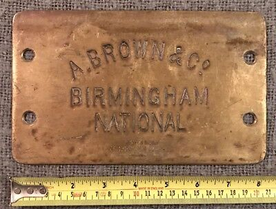 Original Antique Pressed Brass Plaque Brown & Co Birmingham C1880