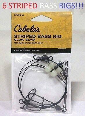 6 Cabela's Striped Bass Rigs with Glow Beads (CABSB-GL) EB050303