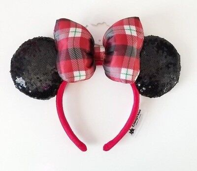NWT Authentic Disney Parks Minnie Mouse Christmas Holiday Bow Plaid Sequin Ears