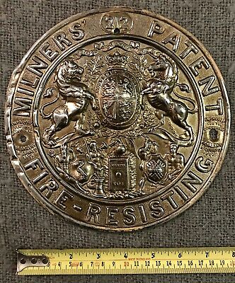 Original Antique Pressed Brass Safe Plaque Milners Liverpool C1880