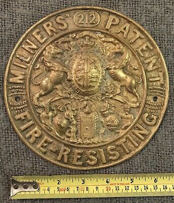 Original Antique Pressed Brass Safe Plaque Milners Liverpool C1880 ,