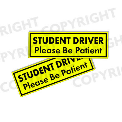 "STUDENT DRIVER Bumper Stickers - Bright Yellow Safety Stickers 2 Pack 3""x9"""