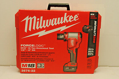 "Milwaukee 2676-22 ForceLogic M18 10-Ton Knockout Tool With 1/2""-2"" Punches &Dies"