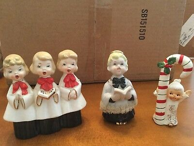 Christmas holiday ceramic choirs and candycane girl