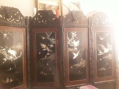 Japanese Oriental Room  Devider Screen Shibayama Mother-Of-Pearl Inlay