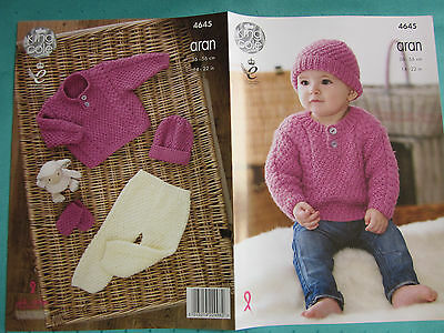 King Cole 5186 Knitting Pattern Sweater Hat and Fingerless Mitts in Shadow Chunk