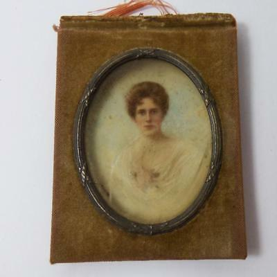 Antique small MINIATURE PORTRAIT hand painted for restoration