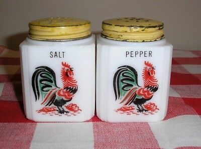 Tipp City Milk Glass Short Rooster Salt & Pepper Shakers