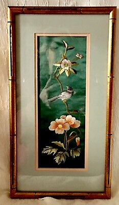 Vintage Chinese Silk Embroidery Panel Bird & Flowers Art Double Mat & Frame