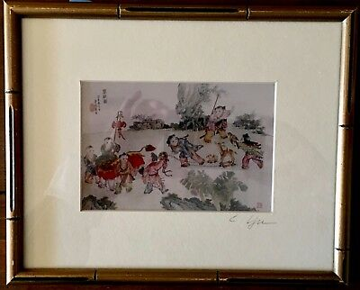 Chinese Lithograph Signed Matted and Framed with Glass Interesting Subject