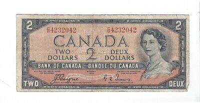 Canada - 1954, Two (2) Dollars  !!Devil's Face!!