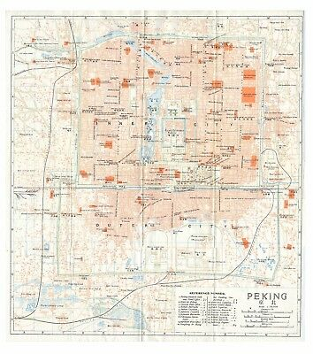Original very rare 1915 map of Peking (Beijing), China- 北京