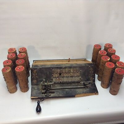 Antique Gem Roller Organ, Cob organ FOR PARTS; with 17 ROLLERS COBS