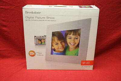 "Brookstone Digital 8"" Picture Frame, pictures plus music & videos Brand New"