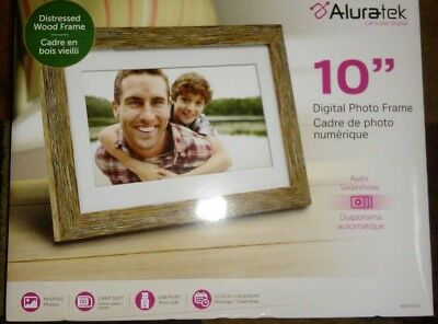"Aluratek - 10"" Widescreen LCD Digital Photo Frame - Light Distressed Wood"