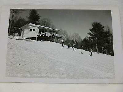 Lakeview Ski Area Weare NH Black and White Photo Post Card 1963 FREE SHIP