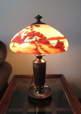 Antique Arts & Crafts CLASSIQUE Bronze Lamp Reverse Painted Glass Shade Signed