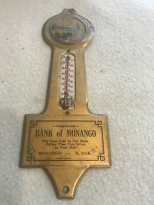 Small Antique Thermometer Bank of Monango North Dakota