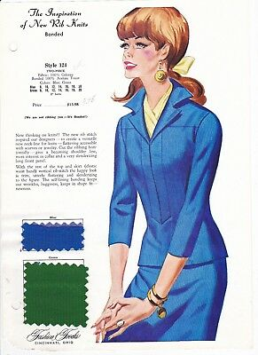 Rib Knits Two Piece Fashion Frocks Sample Style 124Card Fabric Sample 1970's