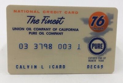 Vintage 1969 Union 76 National Credit Card Motor Pure Oil