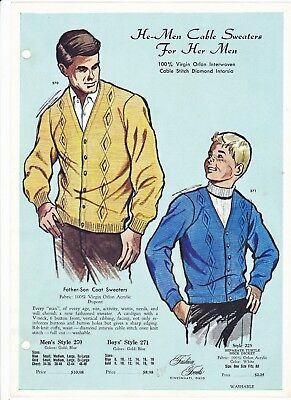 Fashion Frocks He-Men Cable Sweaters Style Sample Page Card Father Son Coat